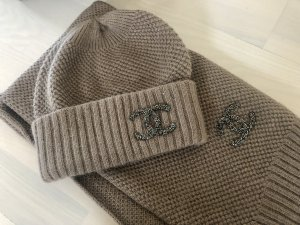 Original Chanel Beanie Set Mütze Schal Wolle Top Zustand