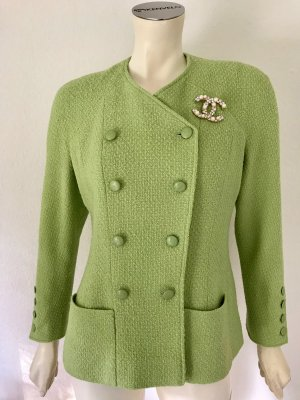 Original Chanel Boucle Jacke 38-40 Grün Wolle Seide Kette Gold Blazer Jacket Green M
