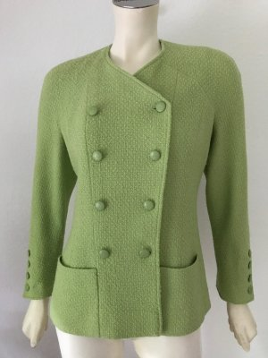 Original Chanel Boucle Jacke Grün Wolle Seide Kette Gold Blazer Jacket Green M
