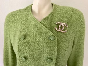 Chanel Wool Blazer lime-green-gold-colored