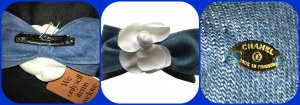 Chanel Molletta per capelli bianco-blu Tessuto misto