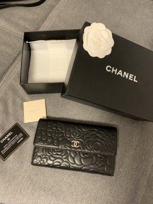 Original Chanel Camellia Portemonnaie Leder Schwarz Silber