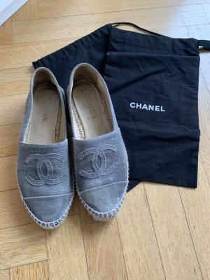Original CHANEL Espadrilles Schuhe Stoff 37 blau mit Stoffbeutel und Karton