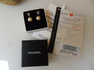 Original Chanel Perlen Ohrstecker, Ohrringe mit Strass CC