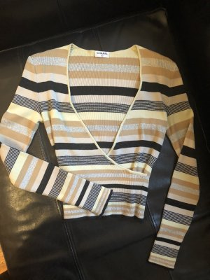 Chanel Jersey con cuello de pico color oro-color plata