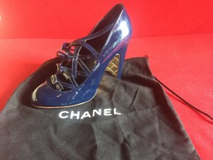 Original Chanel Pumps blau/gold Gr. 36,5