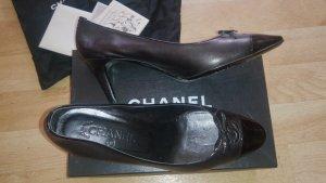 Original Chanel Pumps Leder mit Lackkappe Wie Neu
