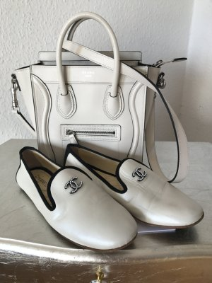 Original CHANEL Slipper Loafer weiß Espadrilles 37 Leder wNeu CC