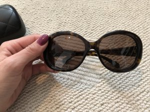 Chanel Oval Sunglasses dark brown-black brown
