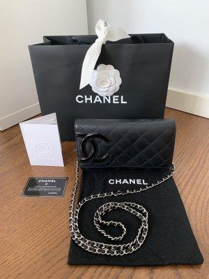 Chanel Gekruiste tas zwart-zilver