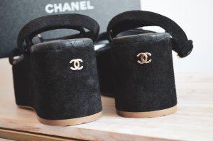 Chanel Sandales à talon haut noir-orange doré