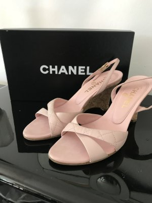 Original Chanel Wedges Gr. 37 in rose Steppmuster