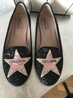 Original CHIARA FERRAGNI Slipper Schuhe Ballerinas 37 wNeu Glitter schwarz
