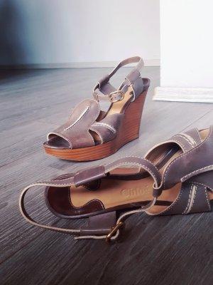 Original Chloé Sandaletten Sandalen Wedges Gr 39,5 Highheels Coachella Keilabsatz Echtleder