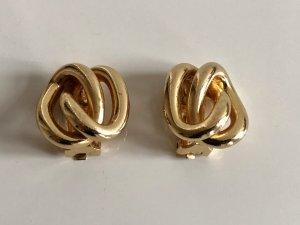 Original Christian Dior 18K gold Designer Ohrclips Clips Ohrringe vergoldet Modern Art