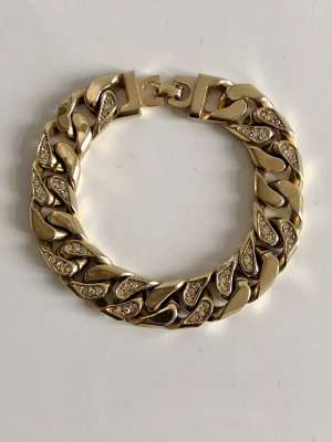 Original Christian Dior Armband 18K Gold Panzerarmband massiv Gliederarmband Swarovski Kristalle