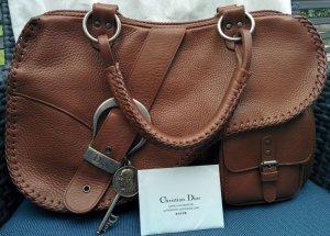Original  CHRISTIAN DIOR Saddle Bag Gaucho Schultertasche Shoulder Bag Leder Braun mit Zubehör Echtheitszertifikat NEU