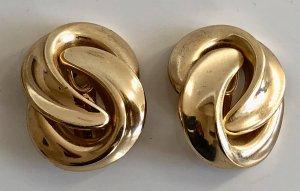 Original Christian Dior XL 18K gold Designer Ohrclips Clips Ohrringe vergoldet Modern Art
