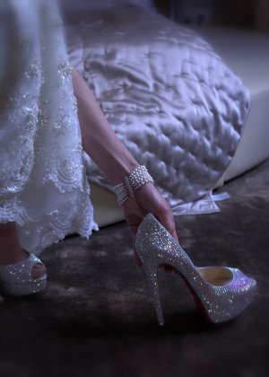 Original christian louboutin Cinderella Peeptoes Brautschuhe Hochzeitschuhe Swarowski in Gr.36,5