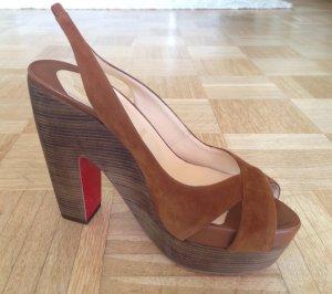 Original Christian Louboutin Heels Gr.38,5 #mod Mrs Propre Suede Cognac