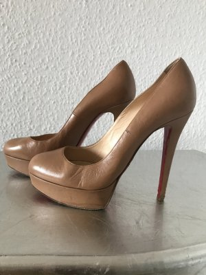 Original Christian LOUBOUTIN High Heels Pumps beige Plateau 38 nude