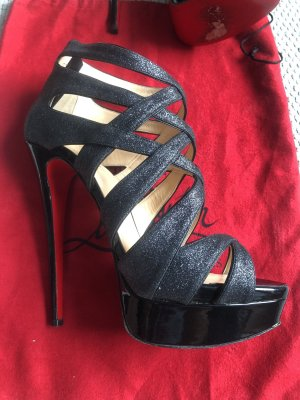 Original Christian Louboutin Pumps Schwarz Metallic 39,5 Blogger Sexy Top Zustand