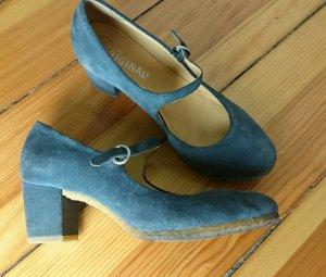 Original Clarks Riemchenpumps grau-blau Gr. 38.5