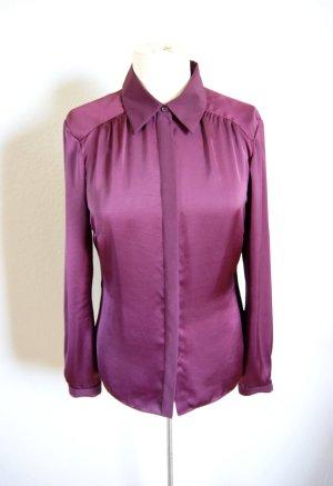 Original Coast Designer Bluse, Satinbluse Pflaume/ Burgund, preppy