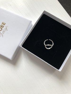 Original Cooee Silber Ring mit Steinen und Saphiren Vintage Look Circle