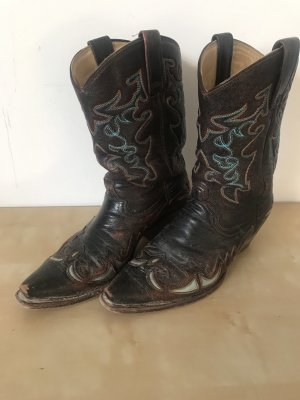 Western Boots dark brown-cadet blue