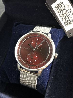 Cross Watch With Metal Strap bordeaux-silver-colored stainless steel
