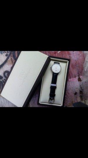 ORIGINAL Daniel Wellington Uhr band Leder schwarz Silber Glitzersteine