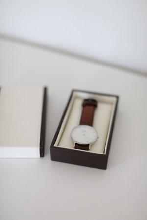 Original Daniel Wellington Uhr Classic St Mawes Braun Leder Silber wie neu!