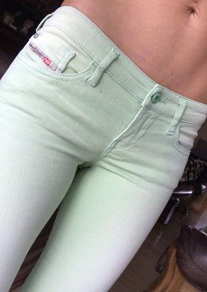 Diesel Pantalon strech vert pâle