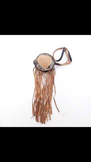 Dolce & Gabbana Fringed Bag azure-light brown leather
