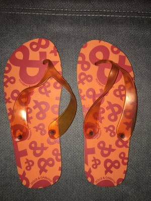 Original Dolce & Gabbana Flip Flops Orange Rot Gr. 39