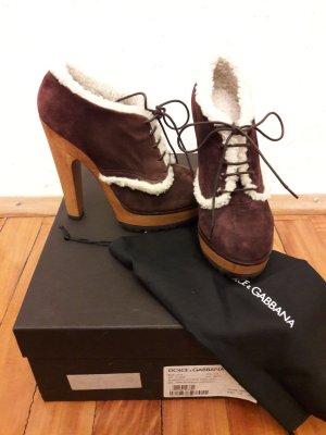 original Dolce & Gabbana Stiefeletten 36 Fell Plateau High Heel NEU aubergine