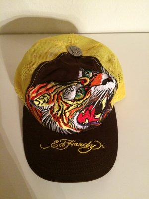 Original Ed Hardy Cap/Kappe - braun/gelb Tiger NEU!