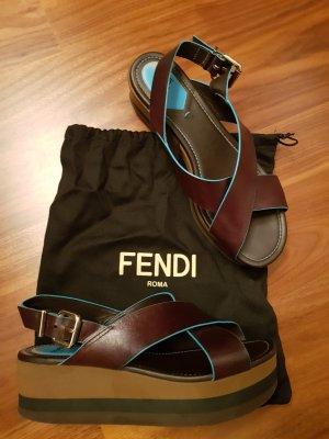 Original Fendi Plateau Sandalen Gr 39 Leder braun