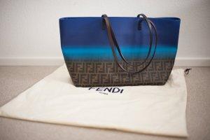 Original Fendi Shopper NEU blau braun Monogram