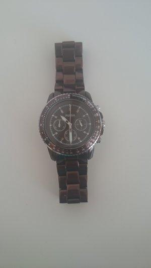 Fossil Reloj con pulsera metálica marrón
