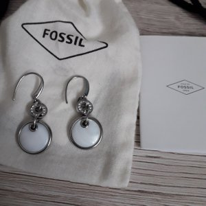 Original Fossil Mutterperl Ohrringe
