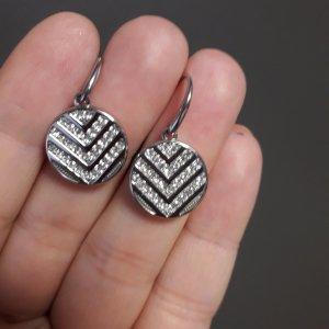 Original Fossil Ohrringe aus Edelstahl und Kristallen