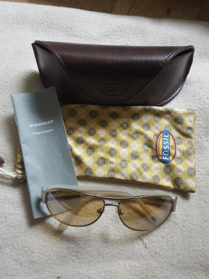 Fossil Oval Sunglasses silver-colored-natural white