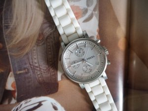 Fossil Analog Watch white-silver-colored synthetic