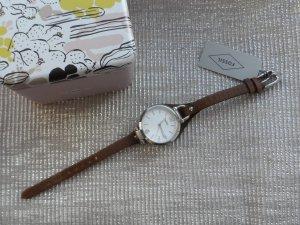 Fossil Reloj con pulsera de cuero multicolor acero inoxidable