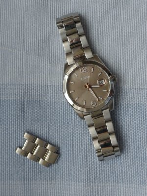 Fossil Watch silver-colored-grey brown stainless steel