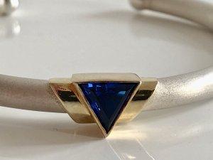 Original Franz Scheurle (Quinn) Design Topas Edelstein Armreif Silberarmreif Armspange Juwelier Meisterpunze gold bicolor