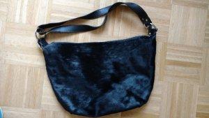 Original FURLA Leder Tasche schwarz mit Fell