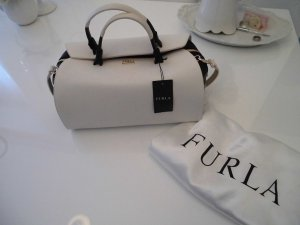 Furla Bowling Bag natural white-black leather